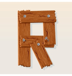 wooden letter r vector image vector image