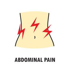 Abdominal pain or stomach-ache logo or icon vector