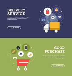 Good Purchase Delivery Service Set of Flat Design vector image