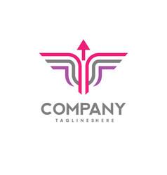 line arrow logo icon winged vector image vector image
