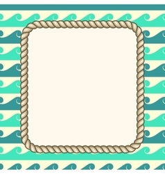 Nautical ropes frame waves background vector