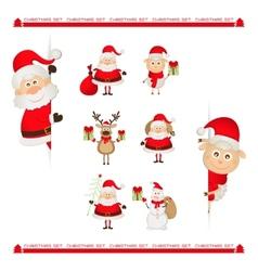 Santa Claus reindeer snowman Christmas characters vector image vector image