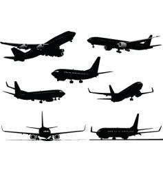 seven plane silhouettes vector image vector image