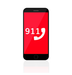 911 emergency call number mobile phone vector image