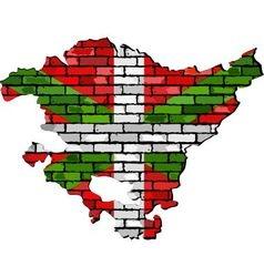 Basque map on a brick wall vector