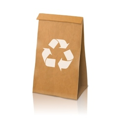 Blank craft realistic paper packaging bag vector image vector image