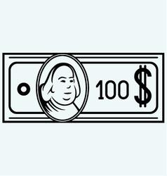 Hundred dollar bill vector image