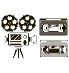 Movie black icon set on white background vector image