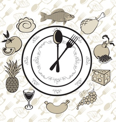 plate clock vector image vector image