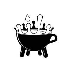a cup of milk with splashes silhouette vector image vector image