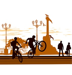 bike stand square vector image vector image