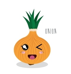 cartoon onion vegetables design isolated vector image