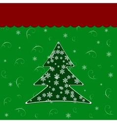 christmas tree over green background vector image vector image