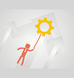 concept idea - a man flying on the gear wheel vector image