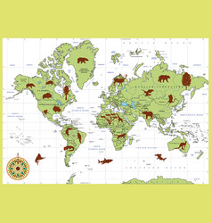 detailed world map with countries and animals vector image vector image