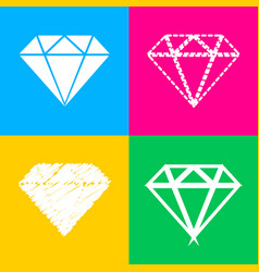 diamond sign four styles of icon on vector image vector image