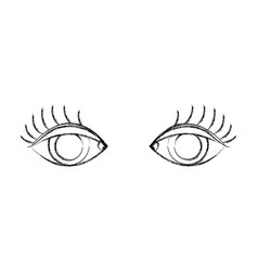 figure vision eyes with eyelashes style design vector image vector image