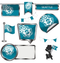 glossy icons with flag of seattle vector image