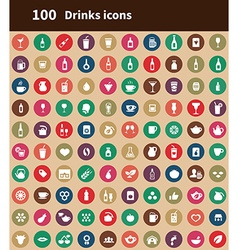 100 drinks icons vector