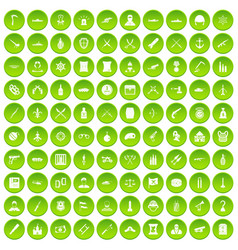100 wealth icons set green circle vector