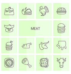 14 meat icons vector
