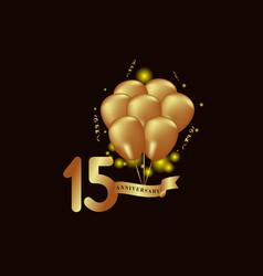 15 year anniversary gold balloon template design vector