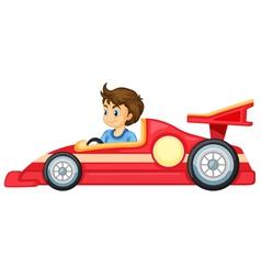 A boy driving a car vector