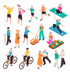 active senior people set vector image