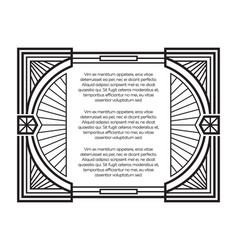 art deco frame template isolated on white vector image
