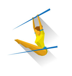 Artistic gymnastic - girl on uneven bars vector