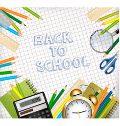 back to school background with supplies tols and vector image