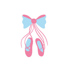 Ballet shoes style with ribbon bow vector