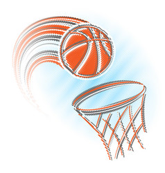 basket and ball scribble vector image