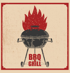 bbq and grill poster with grill and fire vector image