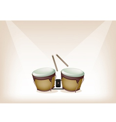 Beautiful Bongo on Brown Stage Background vector