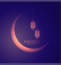 beautiful moon and lanterns design for ramadan vector image