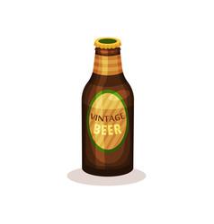 Beer in glass bottle with label vintage beverage vector