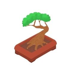 Bonsai tree icon cartoon style vector