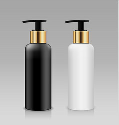 Bottle pump white and black with gold cap vector