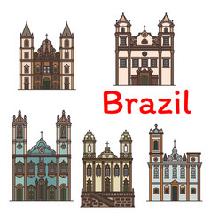 brazilian architecture travel landmark linear icon vector image