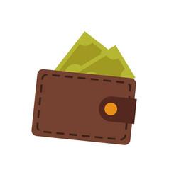 Brown wallet safe money dollar banknote vector