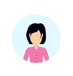 brunette woman avatar isolated faceless female vector image