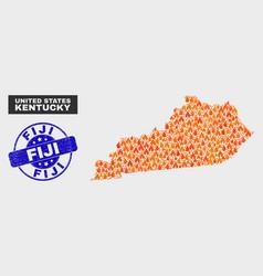 burn mosaic kentucky state map and distress fiji vector image