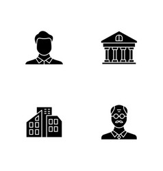 Business black glyph icons set on white space vector
