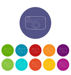 Camera icon outline style vector