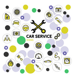 Car service line icons collection vector