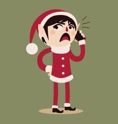 Cartoon Elf Holding a Cell Phone vector