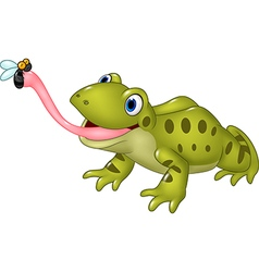 Cartoon funny frog catching fly isolated vector