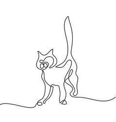 cat silhouette logo continuous line drawing vector image