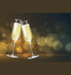 Champagne glass on holiday golden background vector